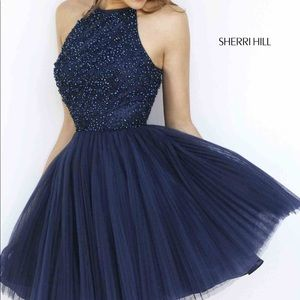 Sherri Hill Homecoming Dress Dupe Navy Blue